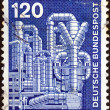 "GERMANY - CIRCA 1975: A stamp printed in Germany from the ""Industry and Technology"" issue shows Chemical plant , circa 1975. — Stock Photo"