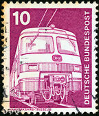 "GERMANY - CIRCA 1975: A stamp printed in Germany from the ""Industry and Technology"" issue shows Electric train, circa 1975. — Zdjęcie stockowe"