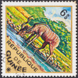 "GUINEA - CIRCA 1975: A stamp printed in Guinea from the ""Wild Animals"" issue shows a Greater Kudu (Tragelaphus strepsiceros), circa 1975. — Stock Photo"
