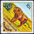 "GUINEA - CIRCA 1975: A stamp printed in Guinea from the ""Wild Animals"" issue shows a Lion (Panthera leo), circa 1975. — Stock Photo"