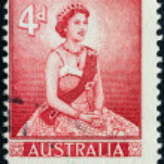 AUSTRALIA - CIRCA 1959: A stamp printed in Australia shows Queen Elizabeth II, circa 1959. — Stock Photo #11898508