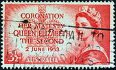 "AUSTRALIA - CIRCA 1953: A stamp printed in Australia from the ""Coronation&qu ot; issue shows a portrait of Queen Elizabeth II, circa 1953. — Stock Photo"