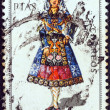 """SPAIN - CIRCA 1970: A stamp printed in Spain from the """"Provincial Costumes"""" issue shows a woman from Salamanca, circa 1970. — Stock Photo #11981786"""