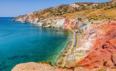 The colorful beach of Paleochori, Milos island, Cyclades, Greece — Stock Photo