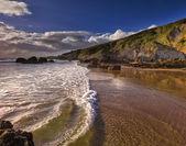 Reflections on Whitsand Bay, Cornwall, UK — Stock Photo