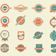 Set of 16 vintage badges — Stock Vector