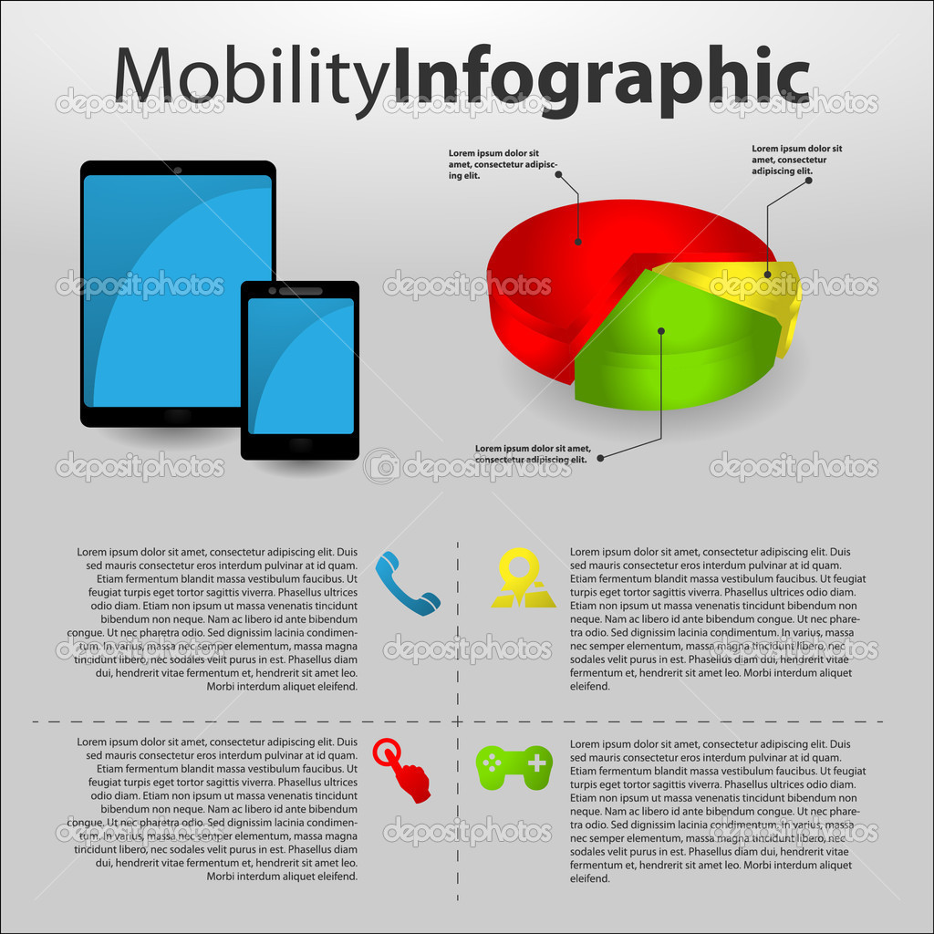 Mobility info graphic with mobile devices — Stock Vector #10784707