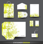 Green Stationery design set in vector format — Stock Vector