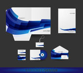 Abstract Blue Wave Stationery design set in vector format — Stock Vector