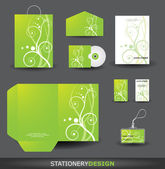 Stationery Design set with Retro Floral Ornament — Stock Vector