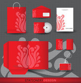Red Stationery design set in vector format — Stock Vector