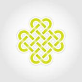Green eternal knot concept in editable vector format — Stock Vector