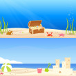 Stock Vector: Cute seaside theme banners for kids