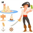 Collection of cute illustrations with pirate theme for kids — Stock Vector