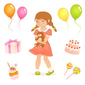 Set of cute illustrations for kids with birthday party theme — Stock Vector