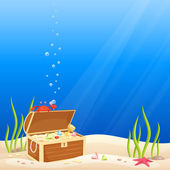 Sea bottom scene with a cute crab making bubbles — Vector de stock