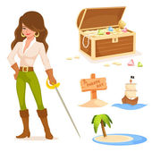 Collection of cute illustrations with pirate theme for kids — Stok Vektör