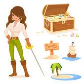 Kolekce roztomilé ilustrace s pirátskou tématikou pro děti — Stock vektor