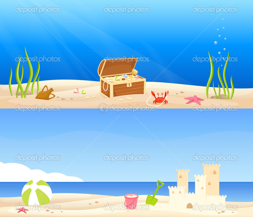 Cute seaside banners for children - a treasure chest at the bottom of the sea and a beach scene with a sand castle and kids toys — Stock Vector #10804484