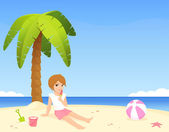 Cute girl sitting on the sunny beach — Stock Vector