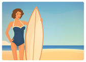 Beautiful brunette girl surfer in retro style — Stock Vector