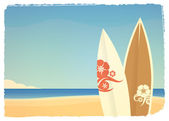 Summer seaside background with surfboards in retro style — Stock Vector