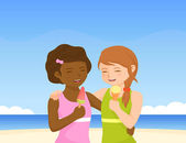 Two cute small girls enjoying ice cream on sunny beach — Stock Vector
