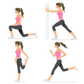 Basic stretching exercises related to jogging — Stock Vector