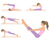 Beautiful fit woman doing pilates exercises — Stock Vector