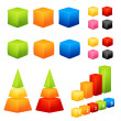 Collection of colorful geometric 3D shapes - Stock Vector