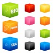 Collection of cubes of various colors — Stock Vector