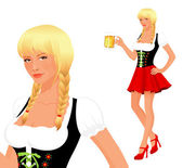 Beautiful pin up girl stylized into Bavarian or Oktoberfest girl with beer — Stock Vector