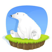 Cute polar bear sitting on grass — Stock Vector