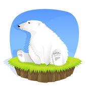Cute polar bear sitting on grass — Stock Vector