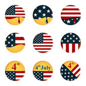 Collection of buttons with American flag and 4th of July Independence day theme — Stock Vector