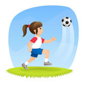 Illustration of a cute girl playing football — Stock Vector