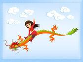 可爱的亚洲女孩骑着古老的中国龙 — 图库矢量图片