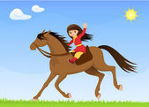 A cute Asian girl riding a horse — Stock Vector