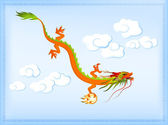 Beautiful Chinese dragon against bright blue sky — Stock Vector