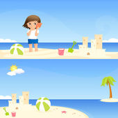 Cute seaside banners for children — Stock Vector
