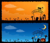 Cute halloween theme banners — Stock Vector