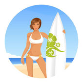Summer illustration of a beautiful short haired surfer girl — Stock Vector
