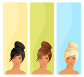 Simple banners with beautiful women with elegant hairdo — Stock Vector