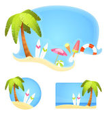 Collection of summer theme illustrations with palm and surfboards on sunny beach — Stock Vector
