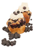Two creamy muffins with blueberries over the white background — Stock Photo