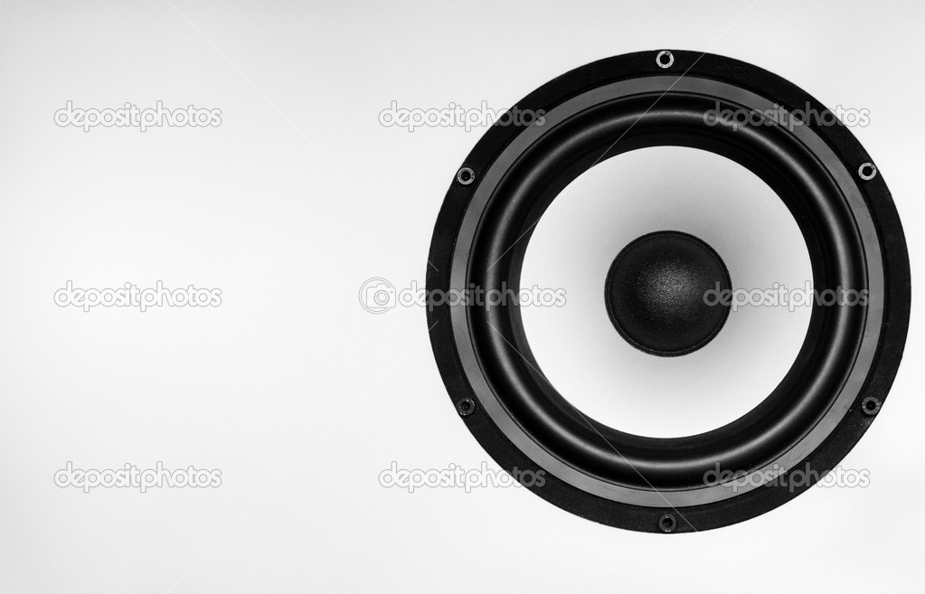 Big Music Speaker on a gray background — Stock Photo #10745075