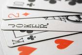 Imagem de jogar às cartas e coringa — Foto Stock