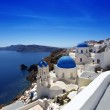 Santorini island with churches and sea view in Greece — Stock Photo #10796843