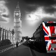 Royalty-Free Stock Photo: Big Ben with colorful flag of England in London