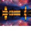 Big Ben with firework in London, England - Stock Photo